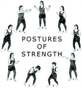 Small images of a woman demonstrating all 9 postures of strengh