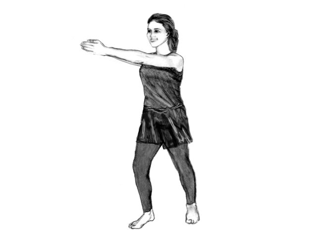 Woman in Soultype 3 posture with outstretched arms.