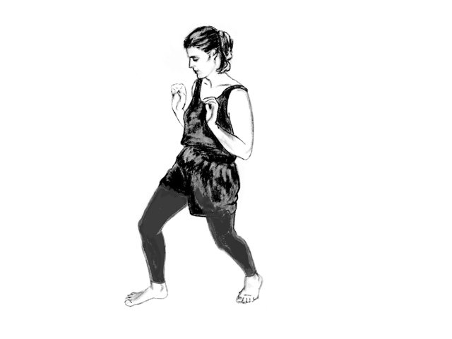 Woman in Soultype 4 posture with her hips forward.