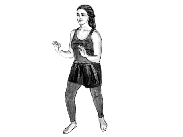 Woman in Soultype 6 posture with her chest lifted.
