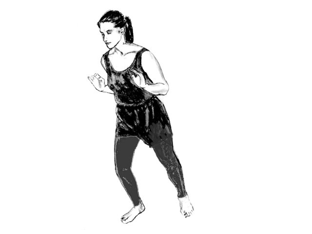 Woman in Soultype 7 posture learning forward from her forehead.