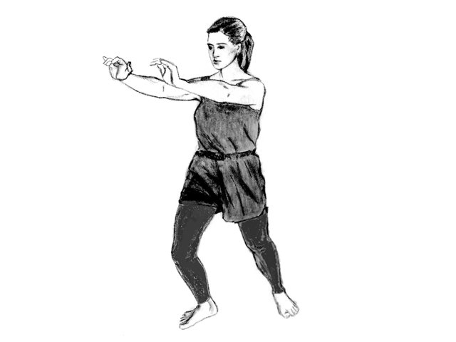 Woman in Soultype 8 posture with her arms forward.
