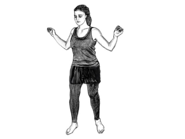 Woman in Soultype 9 posture with her arms out and shoulders back.