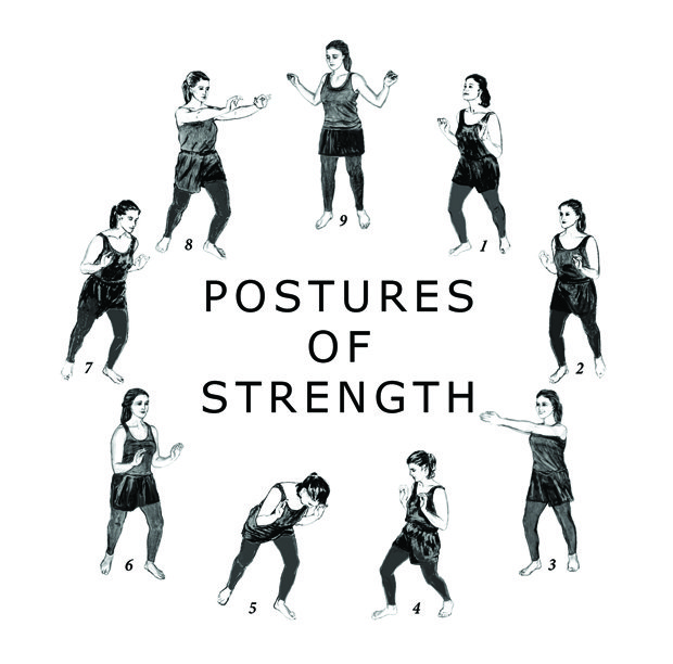 Nine different drawings of the same women showing the nine different Postures of Strength
