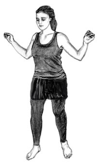 Drawing of a woman with her arms open and bent and shoulders back