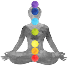Grey painting of a sitting person with colors over the 7 Chakras