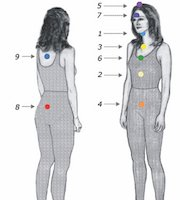 A drawing of a woman with the nine energy centers shown