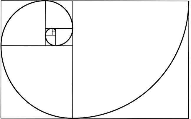Simple Outline showing the Fibonacci Spiral